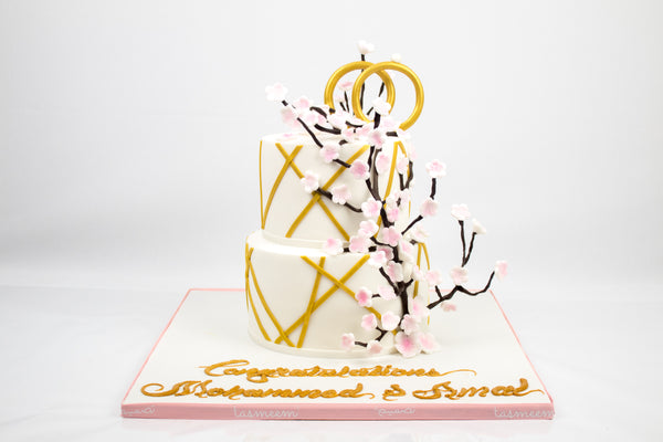 Two Tiered Engagement Cake - كيكة خطوبة