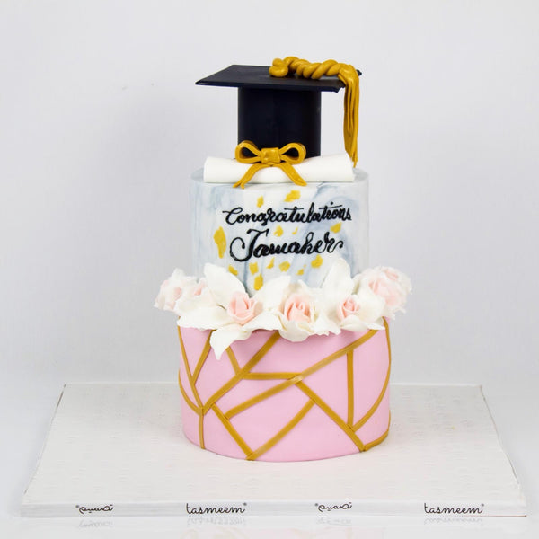 Three Tiered Graduation Cake