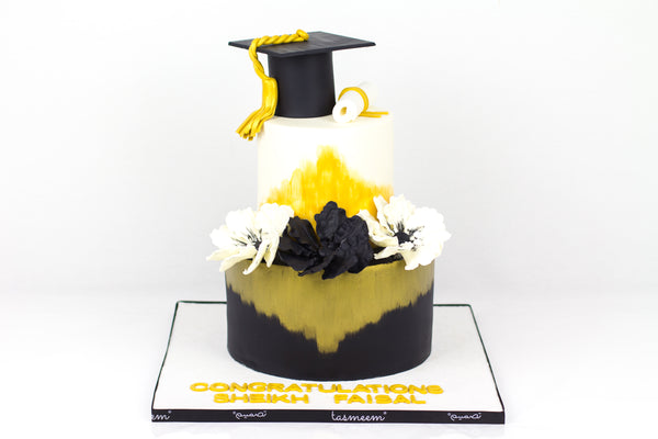 Two Tiered Graduation Hat Cake - كيكة تخرج