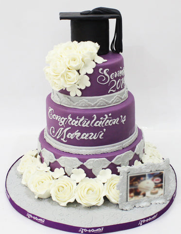 Four Tiered Purple Graduation Cake with Cap