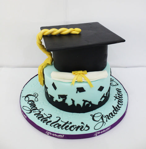 Two Tiered Blue Graduation Cake with Cap & Diploma