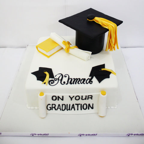 White Black Graduation Cake with Cap, Diploma & Book