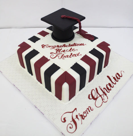 Black Red Striped Graduation Cake with Cap