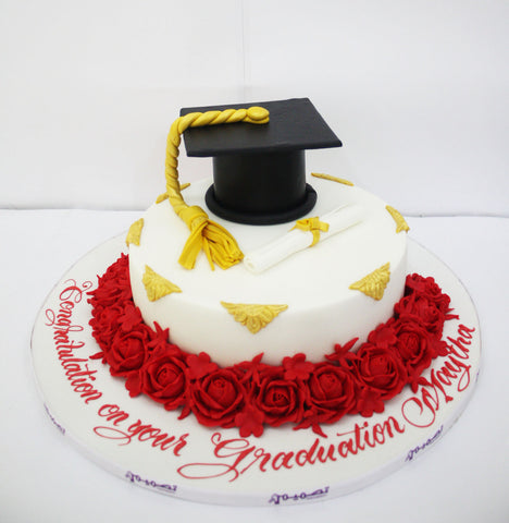 Graduation Cake with Cap, Diploma & Flowers