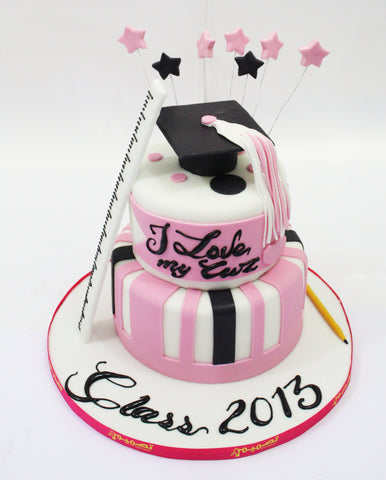 Two Tiered Pink Graduation Cake with Stars