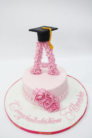 Graduation Cake with Letter On The Top