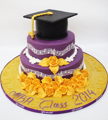 Three Tiered Purple Graduation with Cap & Flowers