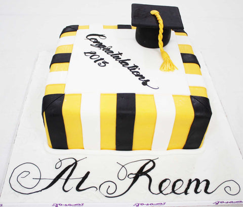 White Black Striped Graduation Cake with cap Square Shaped