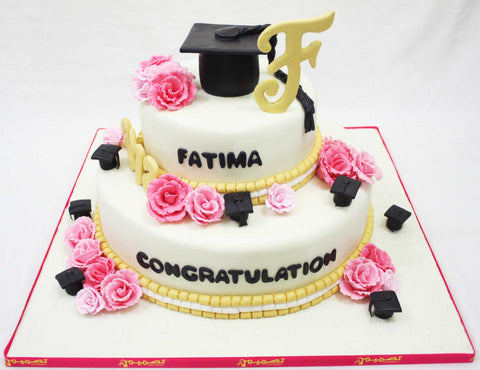 Two Tiered Graduation Cake with Cap & Letter