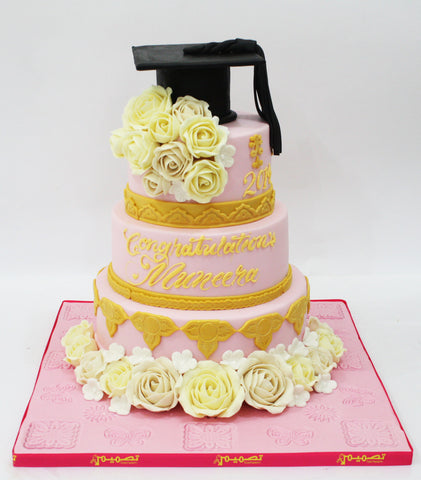 Three Tiered Graduation Cake with Cap & Flowers