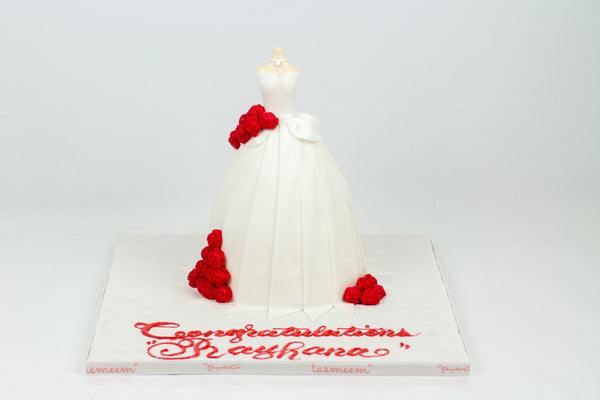 White Bridal Gown Cake