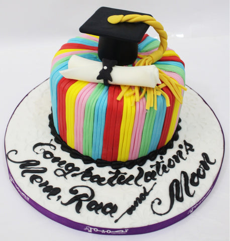 Colorful Striped Graduation Cake with Cap & Diploma