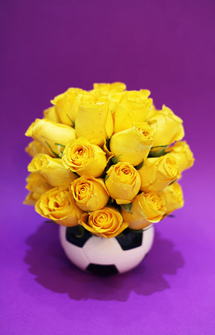 Football vase Roses arrangment