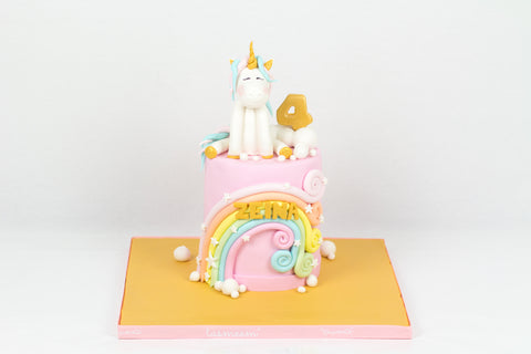 Curled Rainbow Unicorn Cake