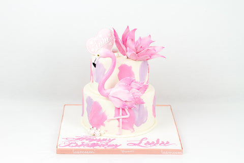Two Tiered Flamingo Cake