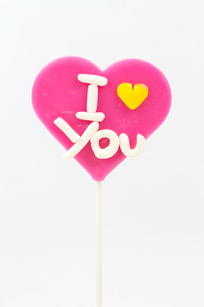Heart Lollipop with I love You -Pink