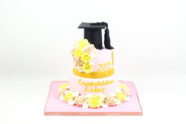 Two Tiered Yellow/Pink Graduation Cake