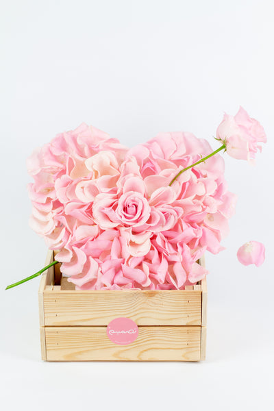 Heart Shaped Pink Flowers Arrangement