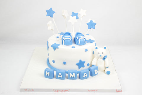 A Blue Baby Booties Cake