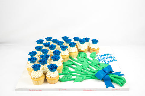 Blue Cupcake  Flower Bouquet