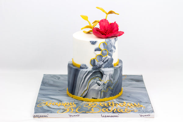 Two Tiered Marble Color Cake - كيكة رخاميه