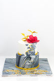 Two Tiered Marble Color Cake