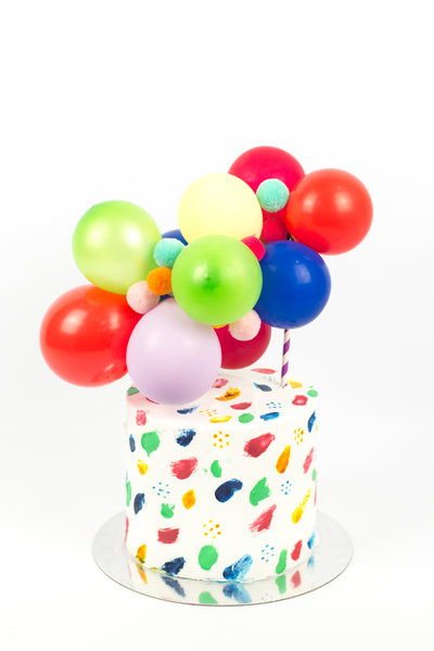 Painted Cake with Colorful Balloons