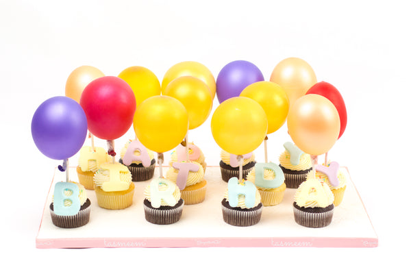 Cupcakes Birthday with Balloons