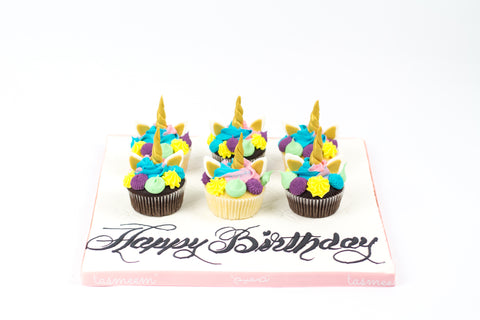 Unicorn Birthday Cupcakes on Board