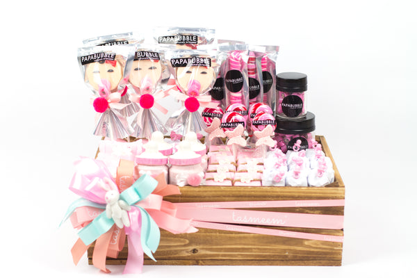 Baby Girl Wooden Gift Box- هدية مولودة صندوق خشب