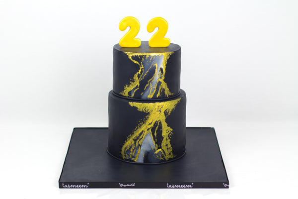 Two Tiered Black Birthday  Cake