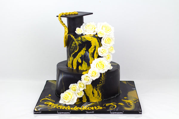 Two Layered Black Graduation Cake - كيكة تخرج