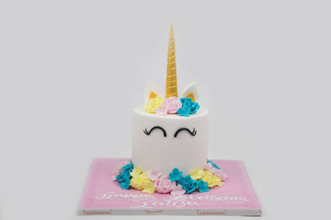 Unicorn Cake with edible colorful flowers