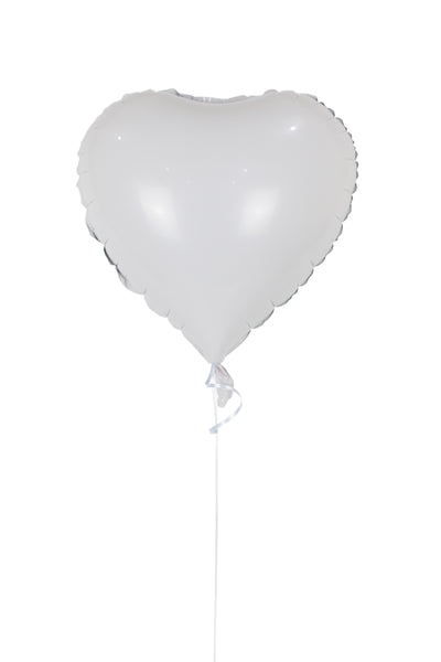 Plain White Heart Shaped Foil Balloon