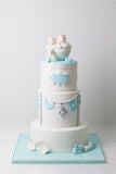 Three Tiered Twins Baby Cake - كيكة توام