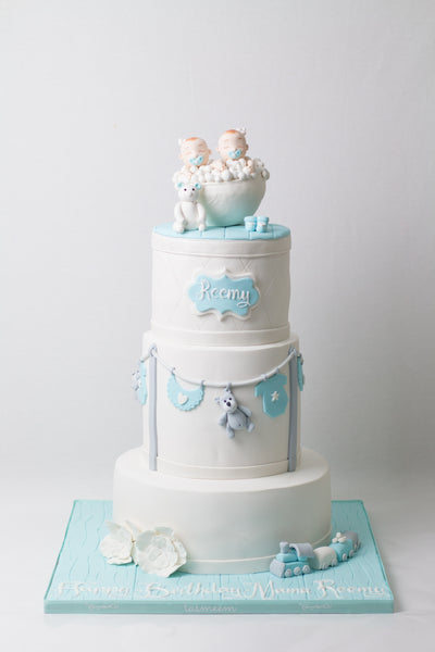 Three Tiered Twins Baby Cake