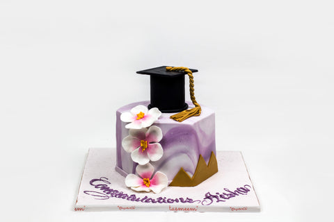 Graduation Cake with Cap and Flowers