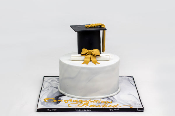 Graduation Cake with Black Cap