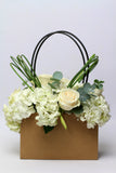 Hydrangea & Roses in a Flower Bag