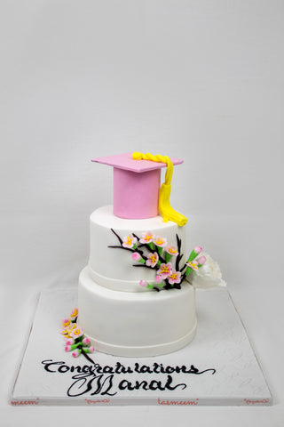 Two Tiered Graduation Cake with Pink Cap