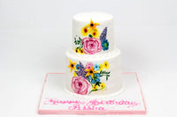 Two Tiered Flower Design Cake