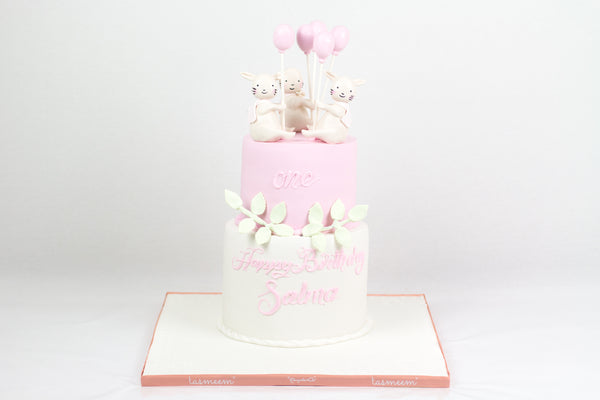 Baby Girl Birthday Cake - كيكة من طابقين