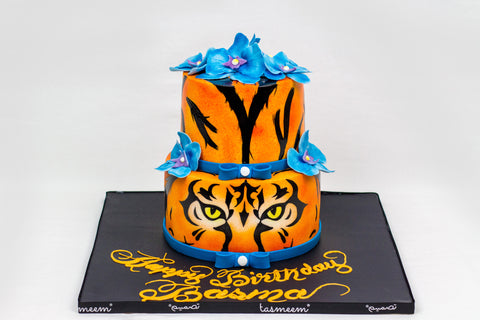 Two Tiered Tiger Cake
