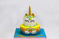 Two Tiered Rainbow Unicorn Cake
