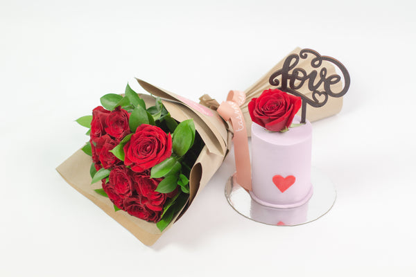 Flower Bouquet with Love Cake
