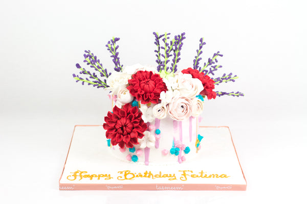 Beautiful Flower Cake - كيكة مزينه بالورد