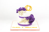 Purple Roses Engagement Cakes