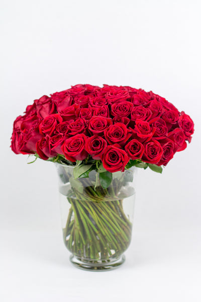 Red Roses in a Clear Vase
