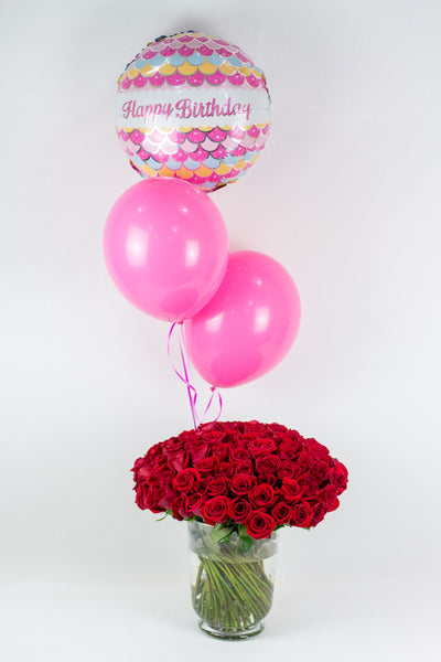 Roses with Birthday Balloon