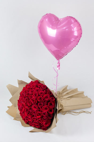 Red Roses Bouquet with Heart Shaped Balloon